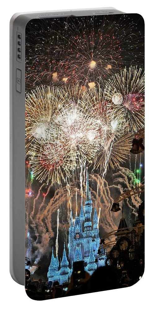 Disney Portable Battery Charger featuring the digital art Happy New Year From Walt Disney World by Barkley Simpson