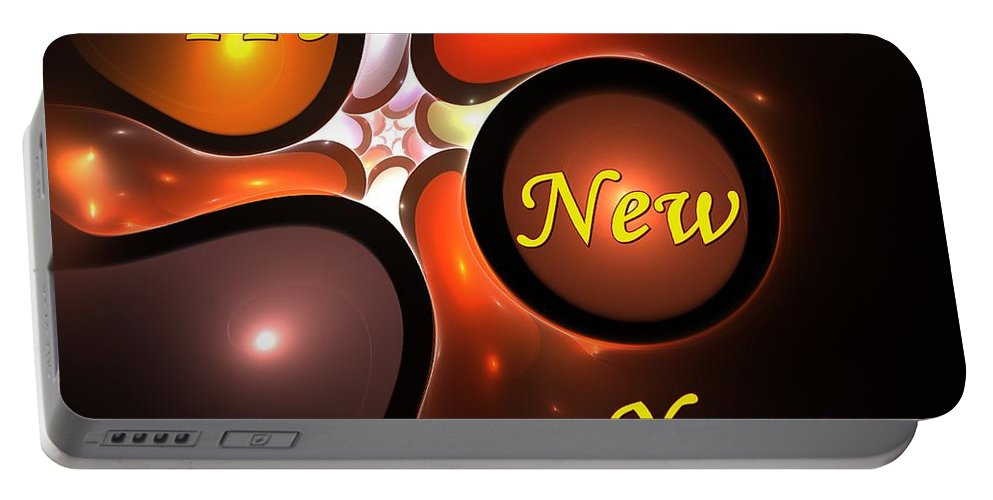 Year Portable Battery Charger featuring the digital art Happy New Year by Steve K