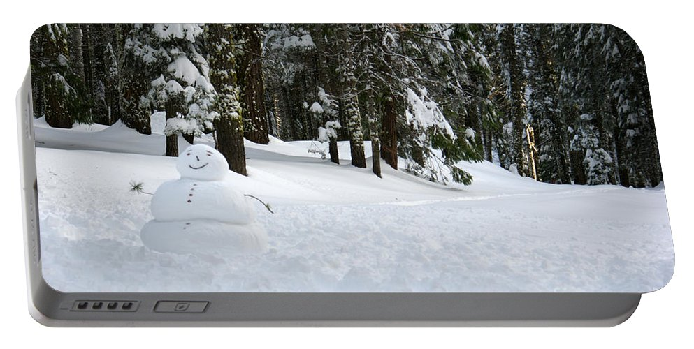 Snowman Portable Battery Charger featuring the photograph Happy Snowman by Christine Jepsen