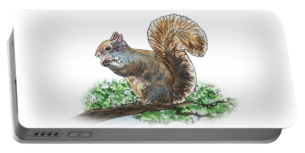 Squirrel Portable Battery Charger featuring the painting Happy Squirrel by Irina Sztukowski