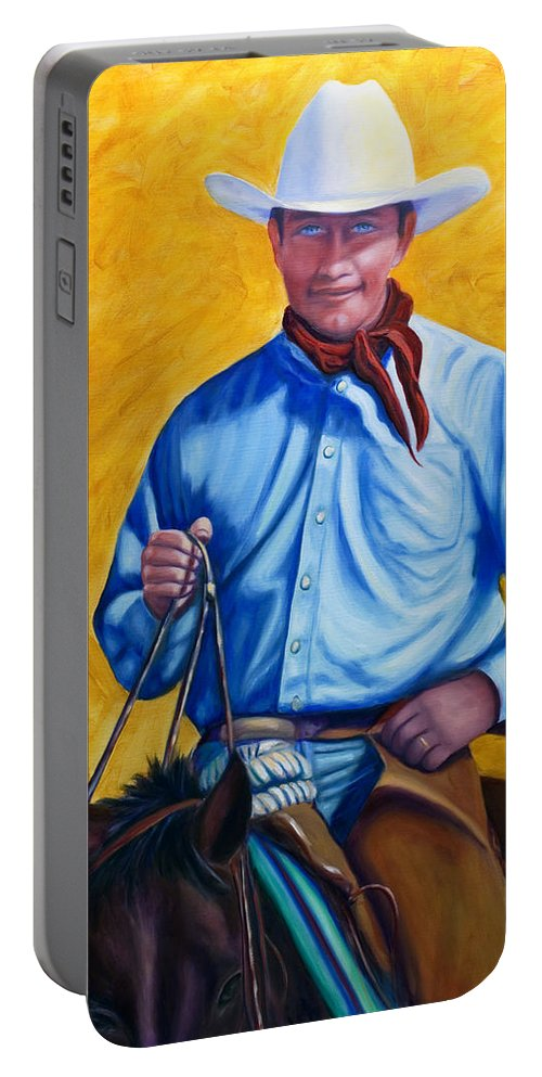 Cowboy Portable Battery Charger featuring the painting Happy Trails by Shannon Grissom