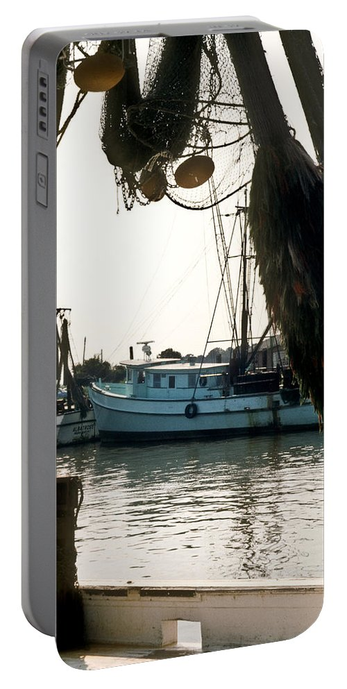 Harbor Portable Battery Charger featuring the photograph Harbor Boats by Douglas Barnett