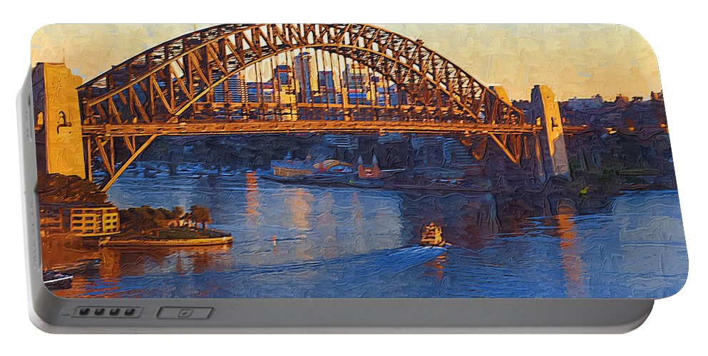 Sydney Portable Battery Charger featuring the photograph Harbor Bridge At Sunset by Tom Reynen