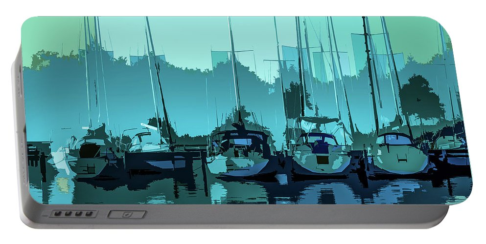 Sailing Portable Battery Charger featuring the photograph Harbor Impression by Michael Arend