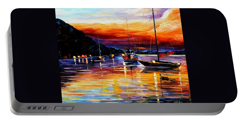 Afremov Portable Battery Charger featuring the painting Harbor Of Messina - Sicily by Leonid Afremov