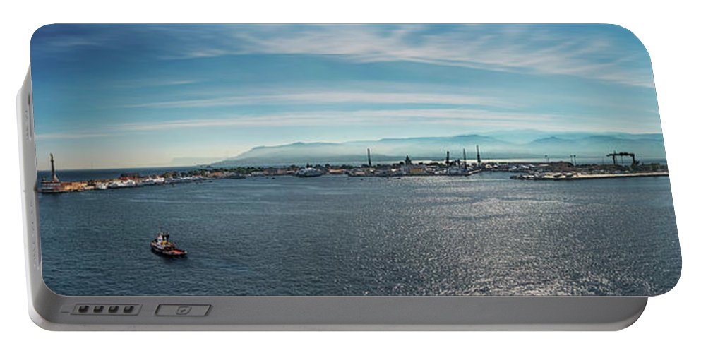 Messina Portable Battery Charger featuring the photograph Harbor Panorama by Alida Thorpe