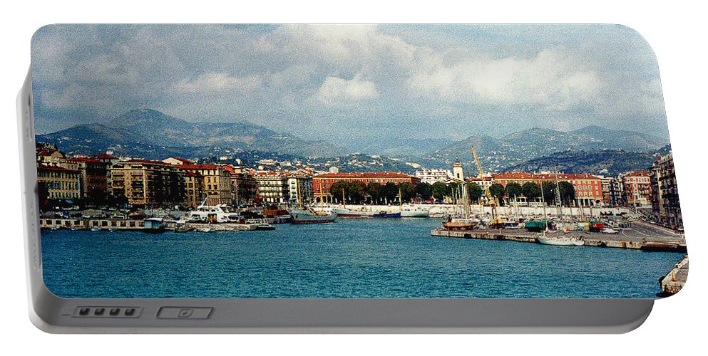 Landscape Portable Battery Charger featuring the photograph Harbor Scene In Nice France by Nancy Mueller
