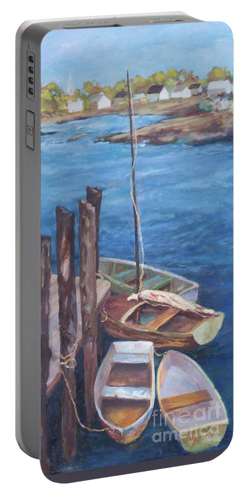 Coastal Landscape Portable Battery Charger featuring the painting Harbor View So. Freeport Wharf by Alicia Drakiotes