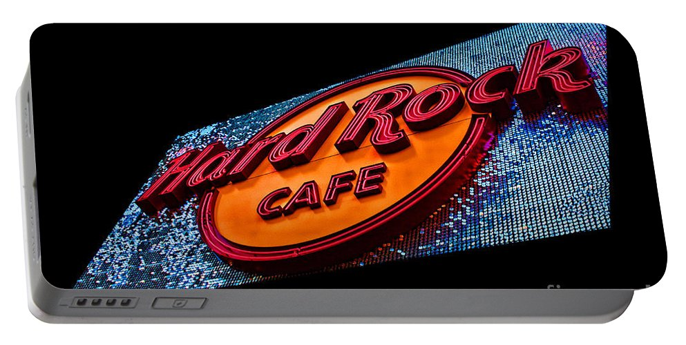Hard Rock Cafe Portable Battery Charger featuring the photograph Hard Rock Hollywood by Tommy Anderson