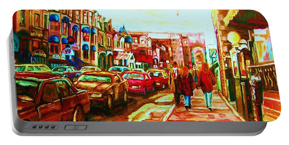 Montreal Streetscenes Portable Battery Charger featuring the painting Hard Rock On Crescent by Carole Spandau