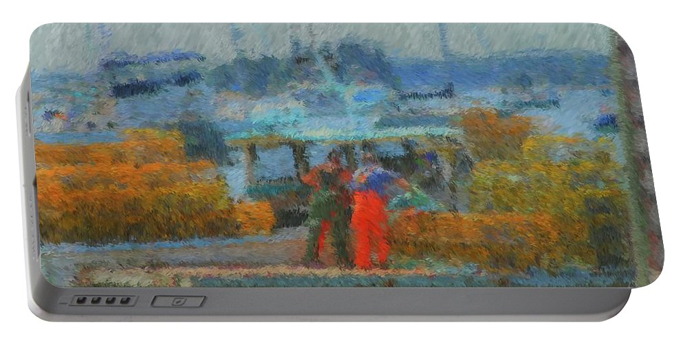 Sunset At Boothbay Harbor Maine Portable Battery Charger featuring the painting Hard Work At Lobster Dock Boothbay Harbor Maine by Viktor Arsenov