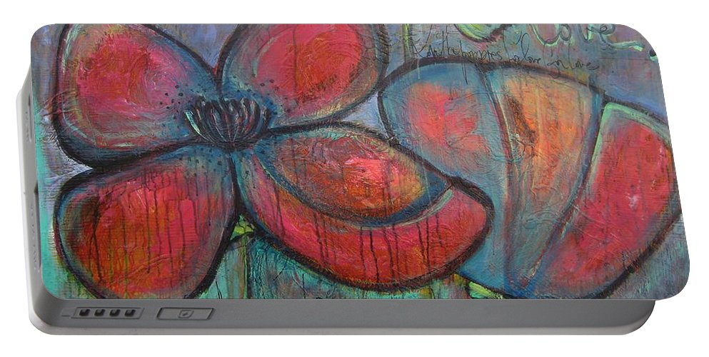 Poppies Portable Battery Charger featuring the painting Hare Hare Poppies by Laurie Maves ART