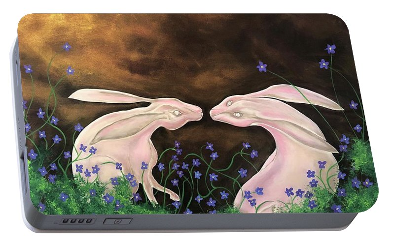 Rabbits Portable Battery Charger featuring the painting Hares At Dawn by Ron Tango Jr