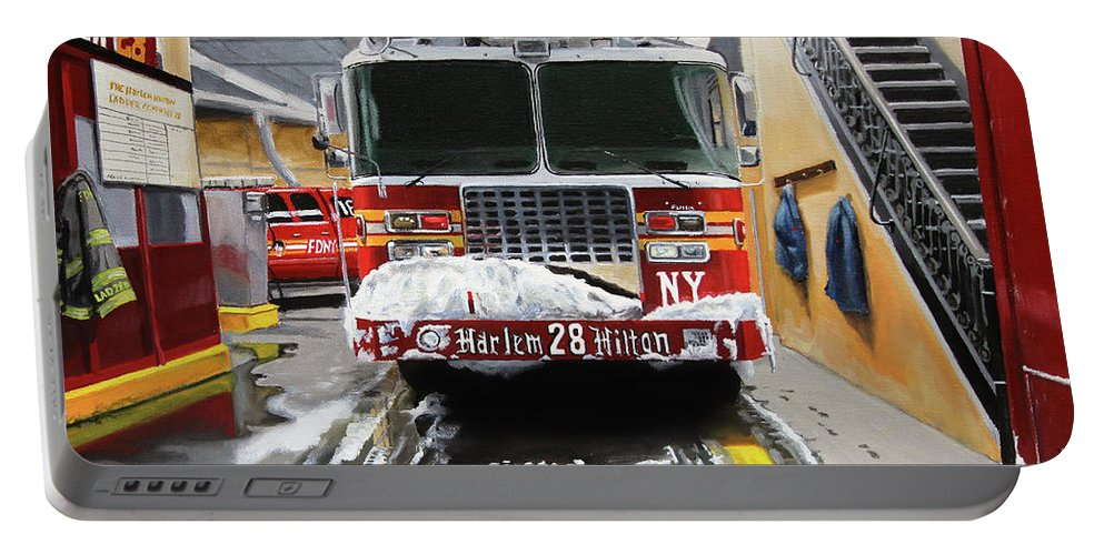 Fdny Portable Battery Charger featuring the painting Harlem Hilton Ladder 28 by Paul Walsh