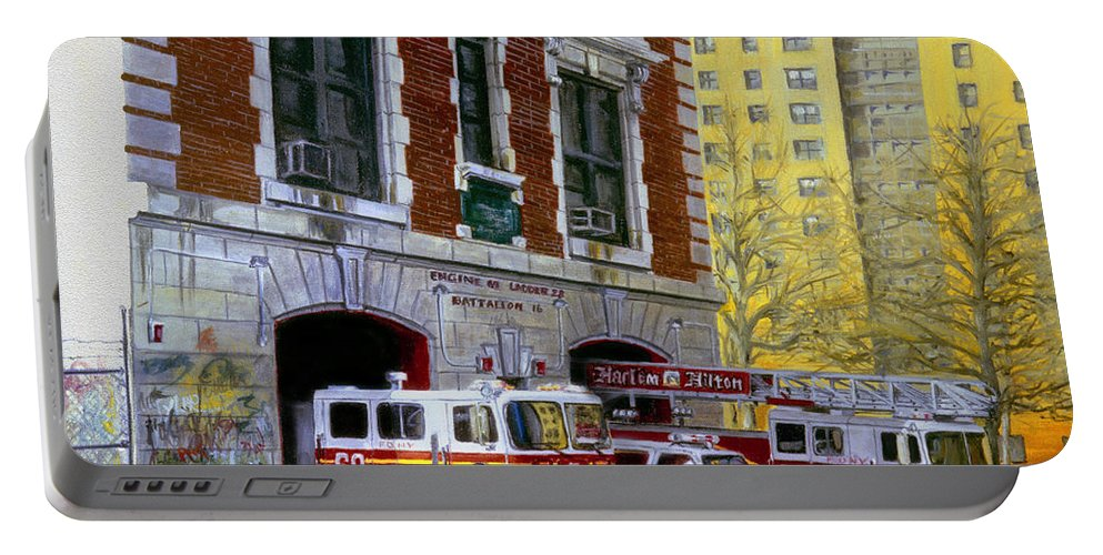 Fdny Portable Battery Charger featuring the painting Harlem Hilton by Paul Walsh