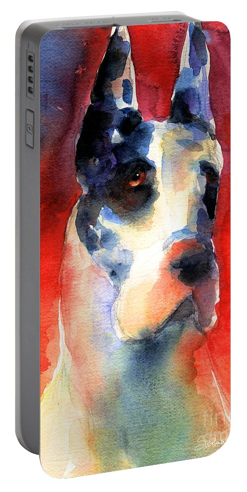 Great Dane Painting Portable Battery Charger featuring the painting Harlequin Great Dane Watercolor Painting by Svetlana Novikova