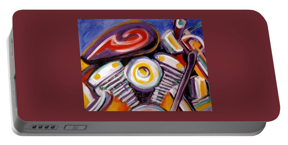 Abstract Portable Battery Charger featuring the painting Harley Closeup by Anita Burgermeister
