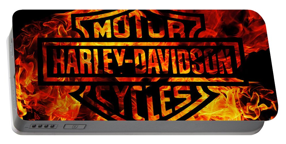 Harley Davidson Logo Flames Portable Battery Charger featuring the digital art Harley Davidson Logo Flames by Randy Steele