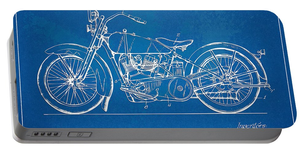 Harley-davidson Portable Battery Charger featuring the digital art Harley-davidson Motorcycle 1928 Patent Artwork by Nikki Marie Smith