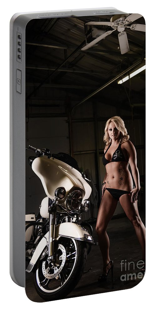 Harley Portable Battery Charger featuring the photograph Harley Davidson Motorcycle Bikini by Jt PhotoDesign