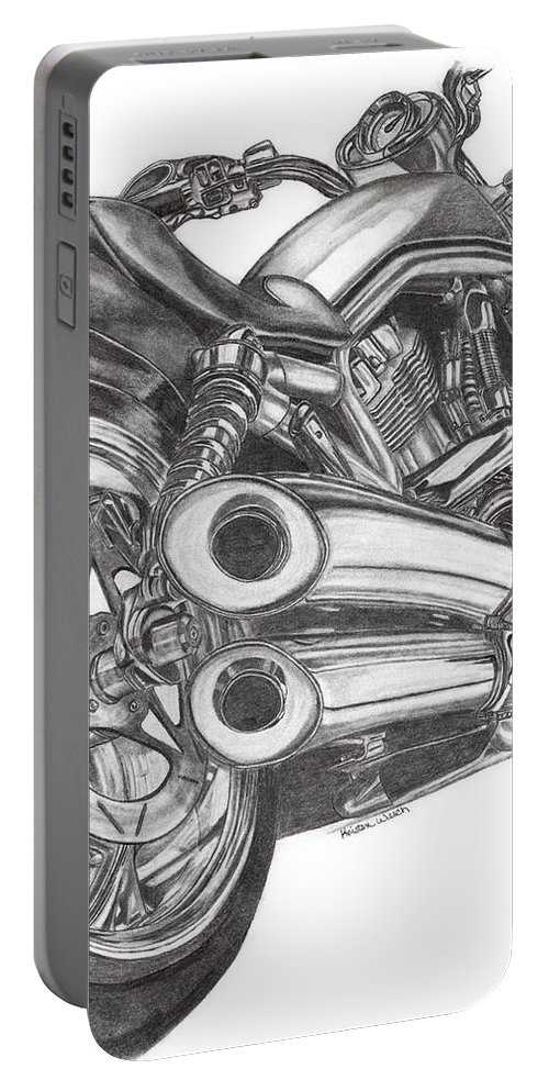Harley Davidson Portable Battery Charger featuring the drawing Harley by Kristen Wesch