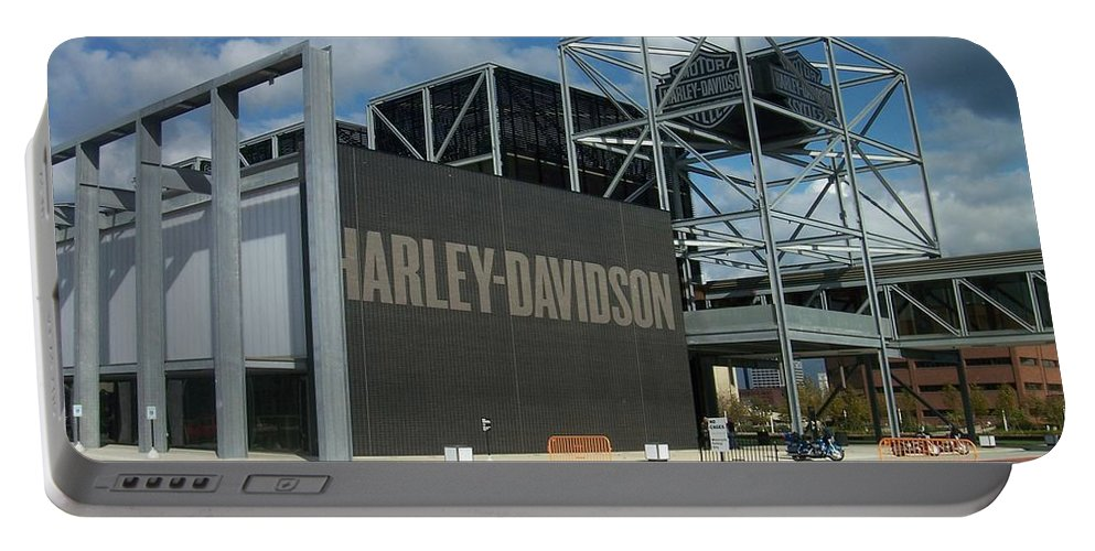 Portable Battery Charger featuring the photograph Harley Museum by Anita Burgermeister