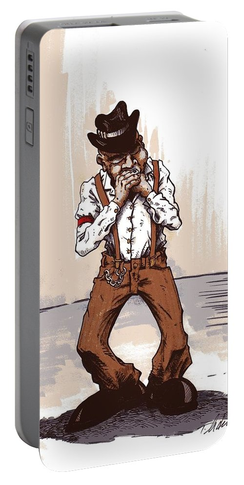 Blues Portable Battery Charger featuring the drawing Harmonica by Tobey Anderson