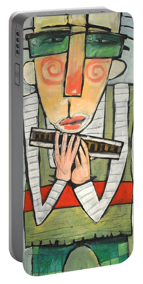 Harmonica Portable Battery Charger featuring the painting Harmonicat by Tim Nyberg
