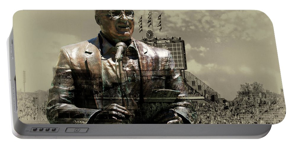 Harry Caray Portable Battery Charger featuring the photograph Harry Caray Statue With Historic Wrigley Scoreboard In Heirloom by Thomas Woolworth
