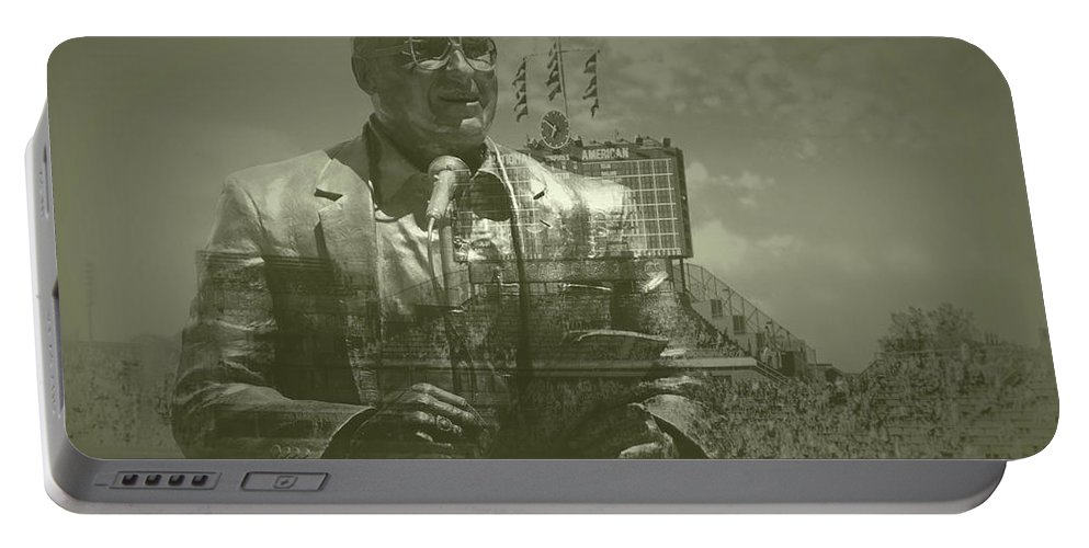 Harry Caray Portable Battery Charger featuring the photograph Harry Caray Statue With Historic Wrigley Scoreboard by Thomas Woolworth