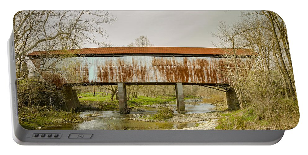 America Portable Battery Charger featuring the photograph Harshaville Covered Bridge by Jack R Perry