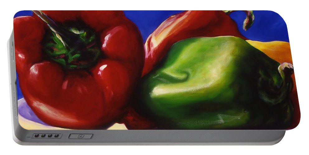 Still Life Portable Battery Charger featuring the painting Harvest Festival Peppers by Shannon Grissom