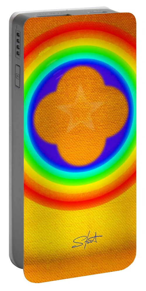 Abstract Portable Battery Charger featuring the painting Harvest Gold by Charles Stuart