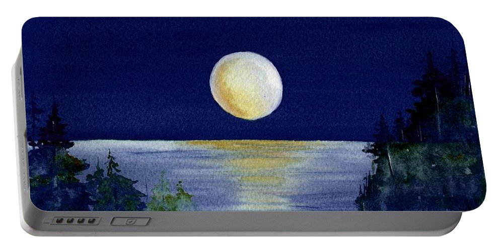 Watercolor Portable Battery Charger featuring the painting Harvest Moon by Brenda Owen