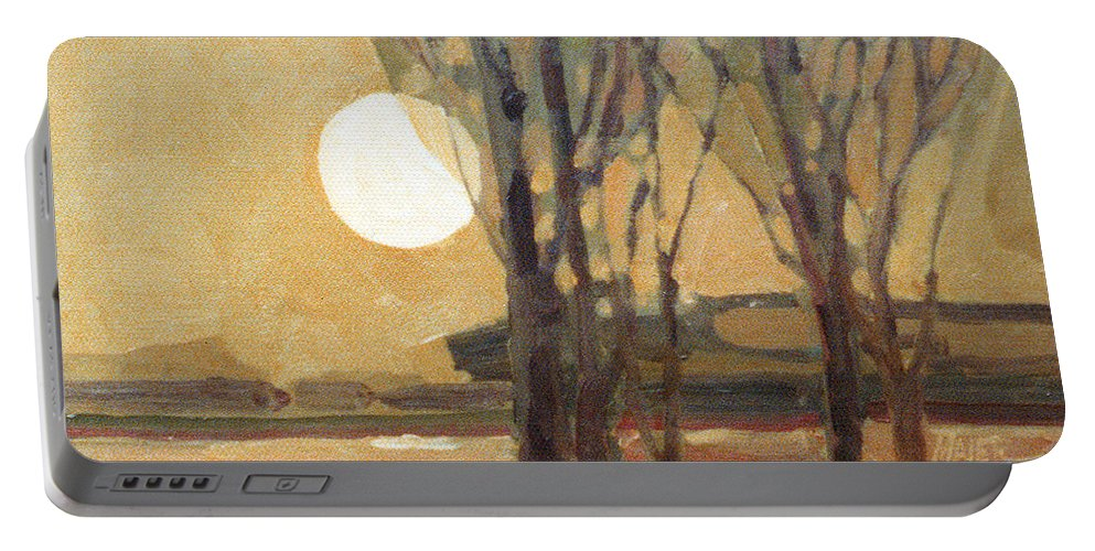 Sunset Portable Battery Charger featuring the painting Harvest Moon by Donald Maier