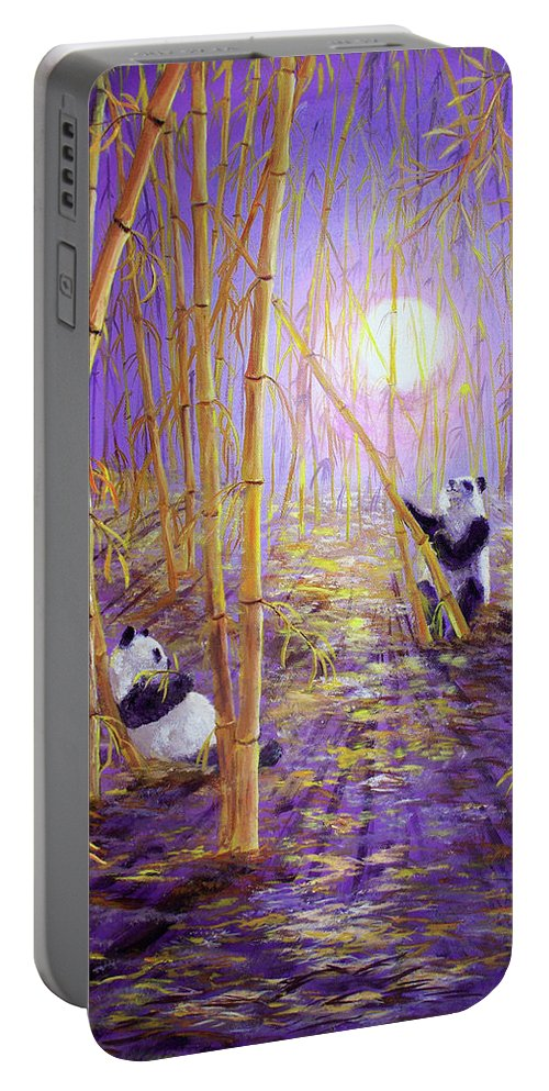 Painting Portable Battery Charger featuring the painting Harvest Moon Pandas by Laura Iverson