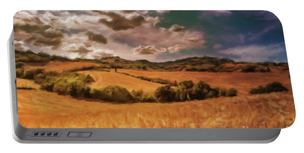 Landscape Portable Battery Charger featuring the painting Harvest Time by Sarah Kirk