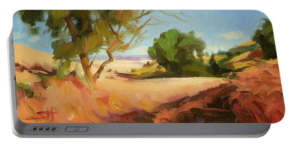 Landscape Portable Battery Charger featuring the painting Harvest Time by Steve Henderson