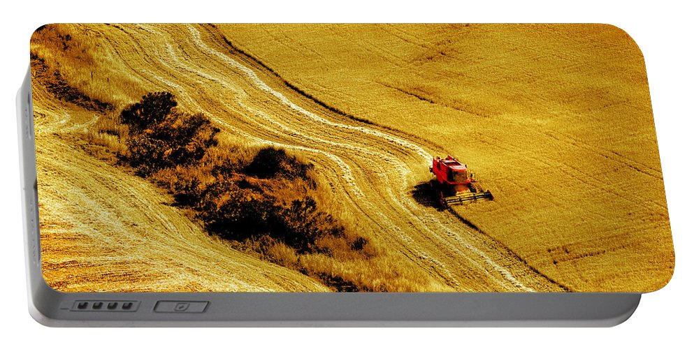 Combine Portable Battery Charger featuring the photograph Harvesting The Crop by Mal Bray