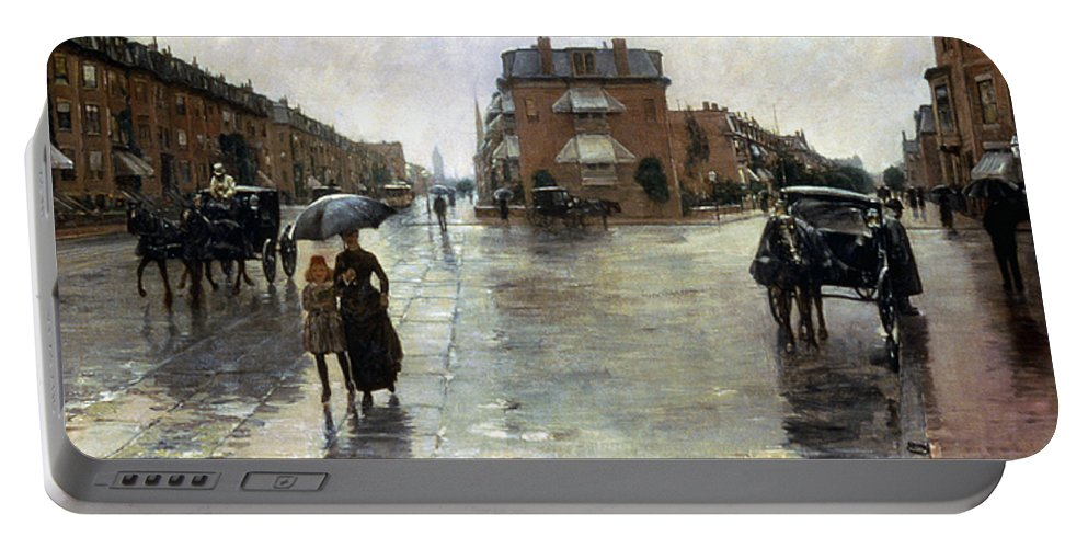 1885 Portable Battery Charger featuring the photograph Hassam: Rainy Boston, 1885 by Granger