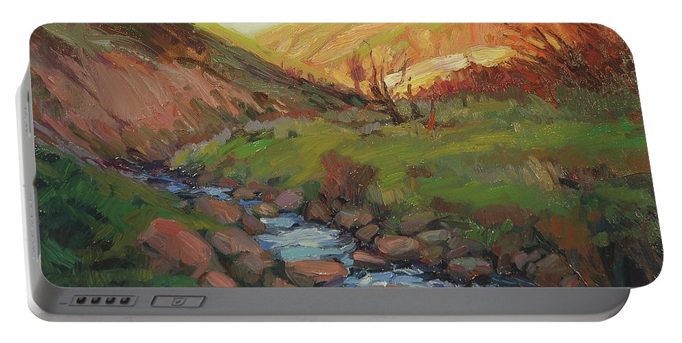 Country Portable Battery Charger featuring the painting Hatley Gulch by Steve Henderson