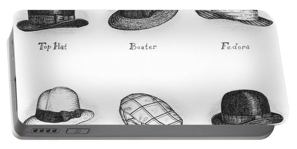 Black Portable Battery Charger featuring the drawing Hats Of A Gentleman by Adam Zebediah Joseph