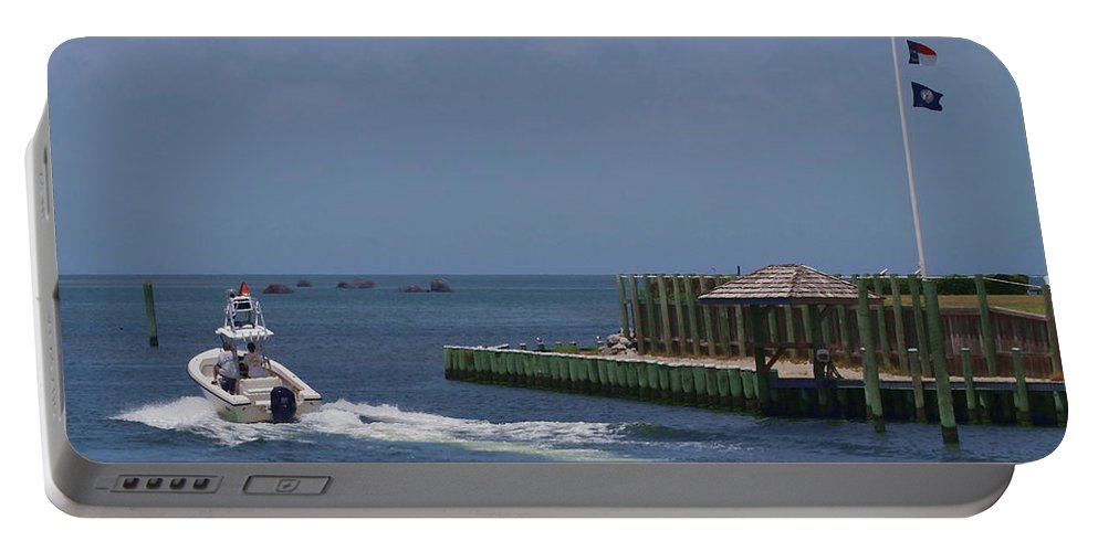 Hatteras Portable Battery Charger featuring the photograph Hatteras Dock And Boat by Cathy Lindsey