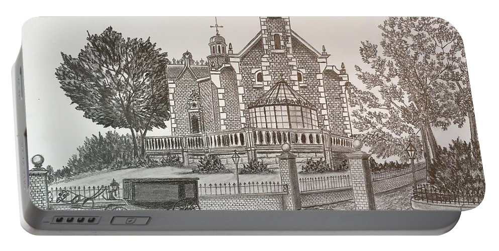 House Portable Battery Charger featuring the drawing Haunted Mansion by Tony Clark