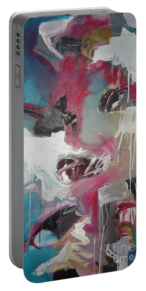 Abstract Red Blue Paintings Portable Battery Charger featuring the painting Haunted Voice-blue Red Painting by Seon-Jeong Kim