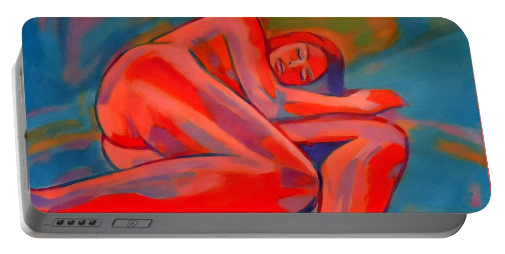 Abstract Nudes Portable Battery Charger featuring the painting Haunting Silence by Helena Wierzbicki