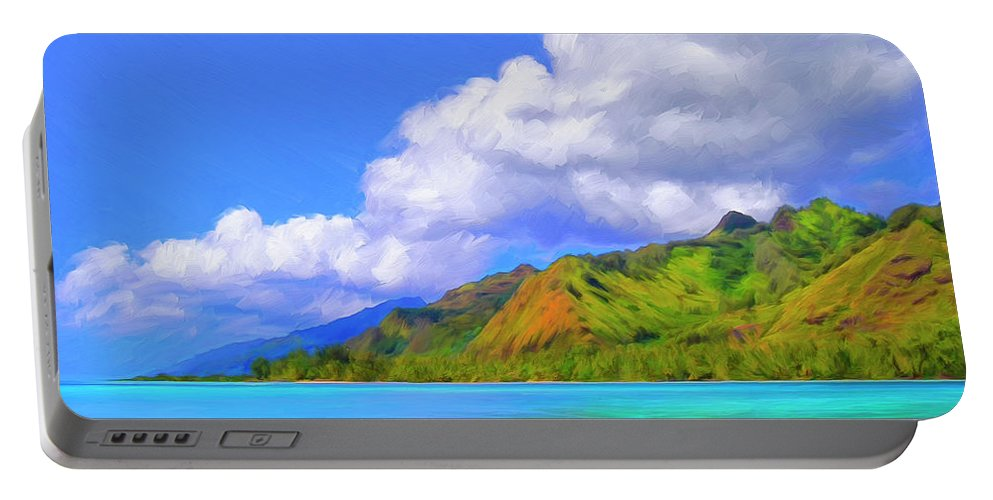 Hauru Point Portable Battery Charger featuring the painting Hauru Point Moorea by Dominic Piperata