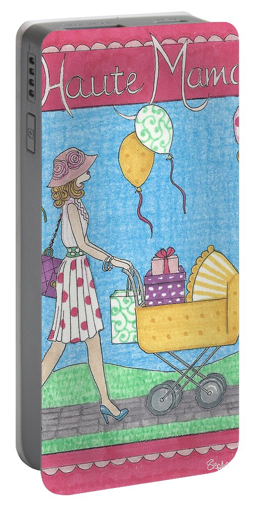 Mama Portable Battery Charger featuring the mixed media Haute Mama by Stephanie Hessler