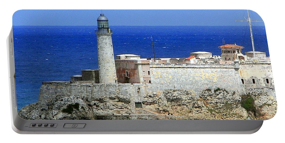 Cuba Portable Battery Charger featuring the photograph Havana Harbor Lighthouse by Karen Wiles