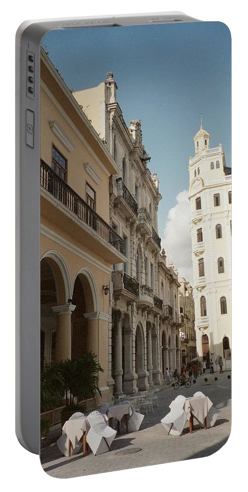 Photo Portable Battery Charger featuring the photograph Havana Vieja by Quin Sweetman